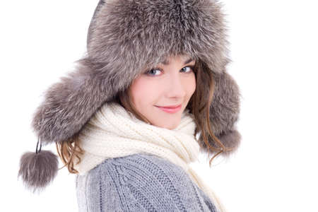 close up portrait of young beautiful woman in winter clothes isolated on white background photo