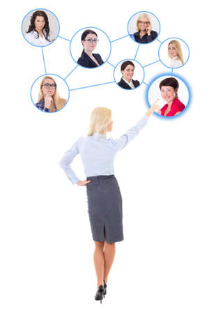 business concept - back view of young business woman searching new workers isolated on white background photo