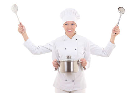 concept picture of attractive woman in chef uniform with four hands isolated on white background photo