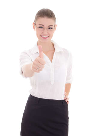 young business woman in glasses thumbs up isolated on white background photo