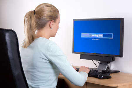 software concept - back view of woman using personal computer in office