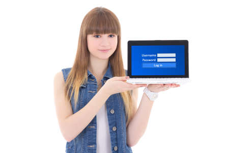 cute teenage girl holding laptop with login panel on screen isolated on white background photo
