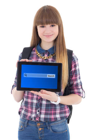 teenage girl holding tablet pc with search bar on screen isolated on white background photo