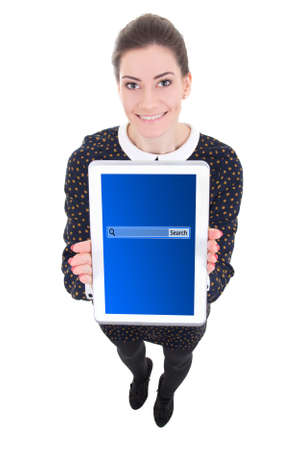 young beautiful business woman showing tablet computer with search bar on screen isolated on white background photo