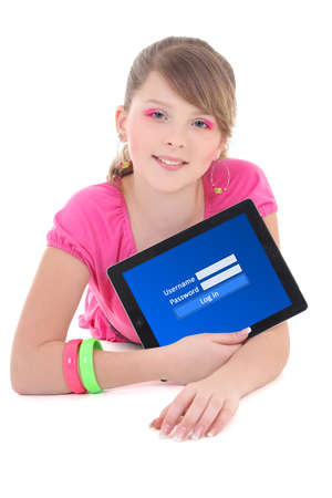 teenage girl holding tablet pc with login form on screen isolated on white background photo
