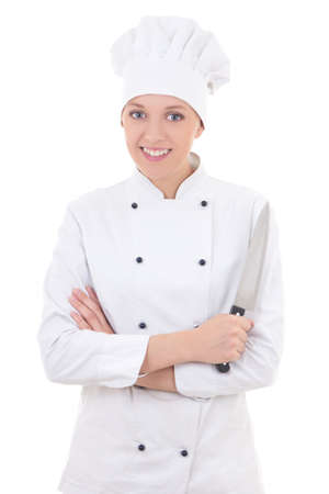 young happy woman in chef uniform holding knife isolated on white background photo