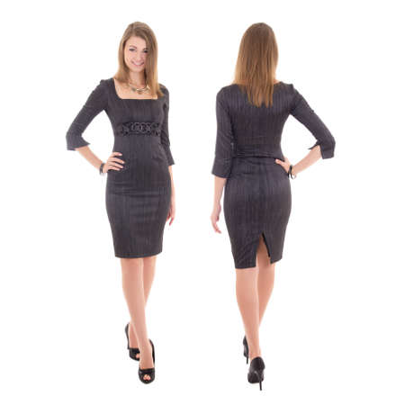 드레스 앞면과 젊은 여자의 다시보기 흰색 배경에 고립