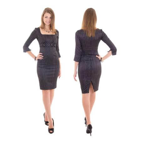 voor- en achterkant van de jonge vrouw in jurk op een witte achtergrond