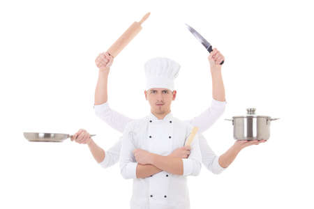 culinary skills: cooking concept -young man chef with 6 hands holding kitchen equipment isolated on white background Stock Photo