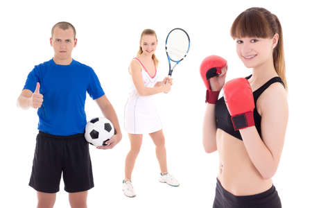 sport concept - soccer player, female tennis player and woman in boxer gloves isolated on white background photo