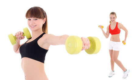 two young sporty women with dumbbells isolated on white background photo