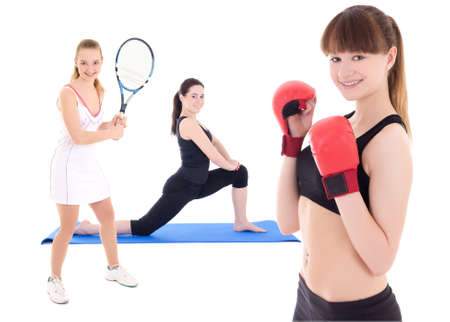 sport concept - female tennis player, female boxer and woman doing yoga isolated on white background photo