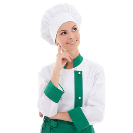 young chef woman dreaming or thinking about something isolated on white background photo
