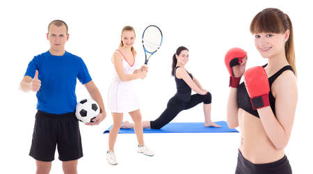 sport concept - sporty people with equipment isolated on white background photo