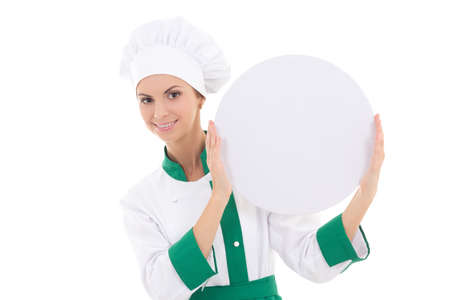 chef woman in uniform holding big  empty plate with copy space isolated on white background photo