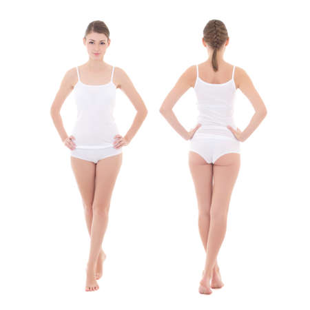 front and rear view of young slim woman in cotton underwear isolated on white background - full length