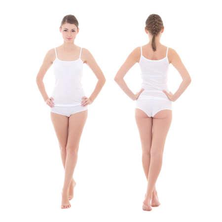 voor- en achterzijde van de jonge slanke vrouw in katoenen ondergoed op een witte achtergrond - volle lengte