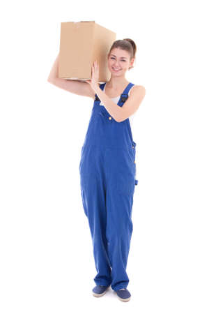 studio happy overall: young attractive woman in blue workwear with cardboard box isolated on white background