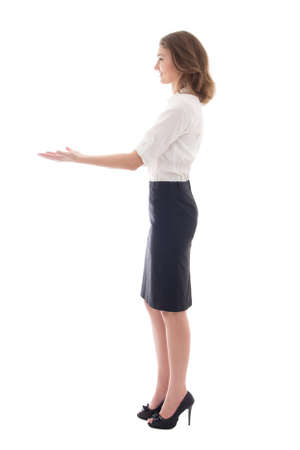 woman full body: business woman giving something isolated on white background