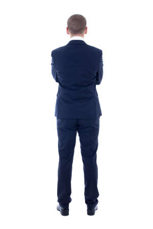 back view of young man in business suit isolated on white background