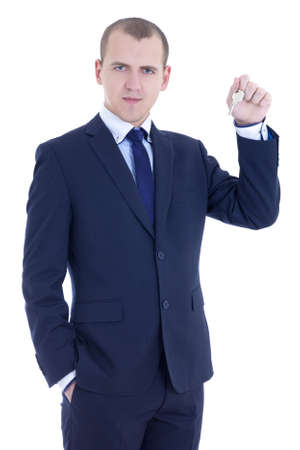 young business man with key in hand  isolated on white background photo