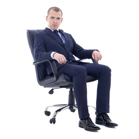 young business man sitting on office chair isolated on white background