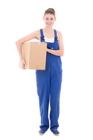 studio happy overall: young attractive woman in blue workwear holding cardboard box isolated on white background Stock Photo