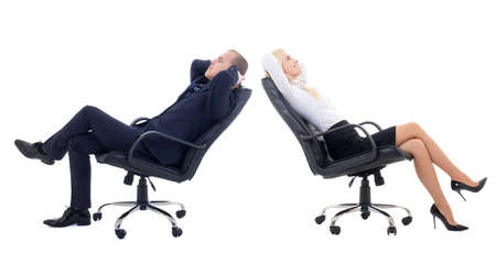 business woman and business man sitting on office chairs isolated on white background photo