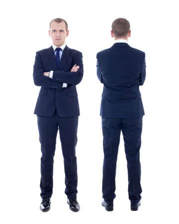 front and back view of young man in business suit isolated on white background