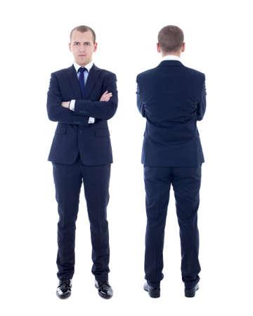 back: vista frontal y posterior del hombre joven en traje de negocios aislados en fondo blanco