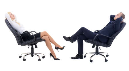 team work concept - business woman and business man sitting on office chairs isolated on white background photo