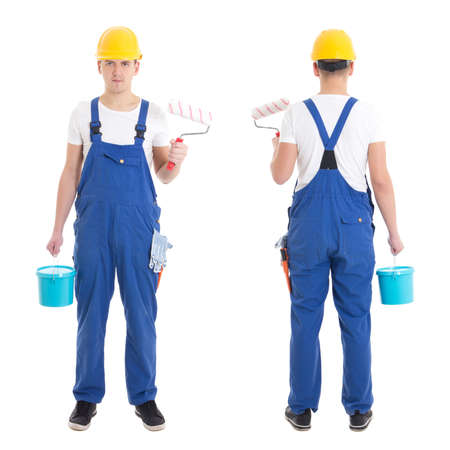 front and back view of young man painter in blue coveralls isolated on white background