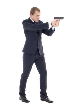 special agent: special agent man in business suit posing with gun isolated on white background Stock Photo