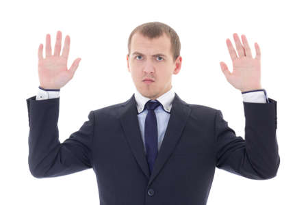 business man holding his hands up isolated on white background