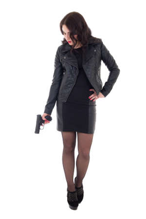 young attractive woman posing with gun isolated on white background