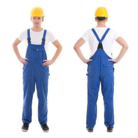 coverall: front and back view of young man in blue builder uniform isolated on white background