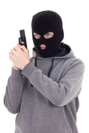 assasin: man in mask with gun isolated on white background
