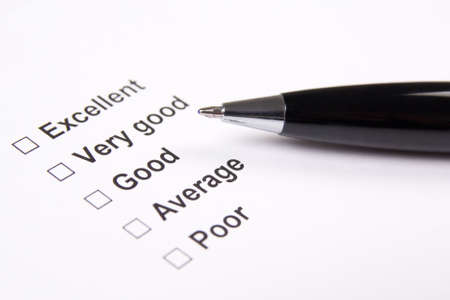 good quality: survey with excellent, very good, good, average and poor answers and metal pen