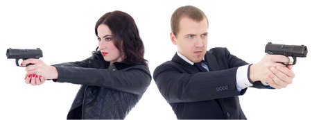 james: young beautiful woman and man shooting with guns isolated on white background Stock Photo
