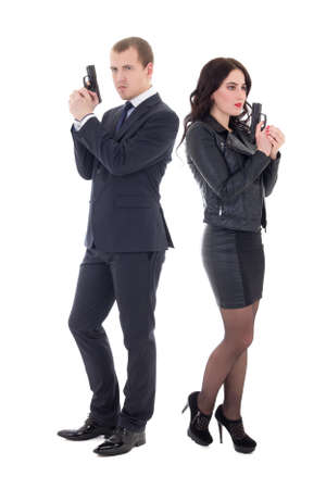 full length portrait of man and woman special agents with guns isolated on white  background