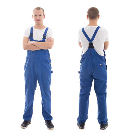 workwear: front and back view of young handsome man in blue workwear isolated on white background