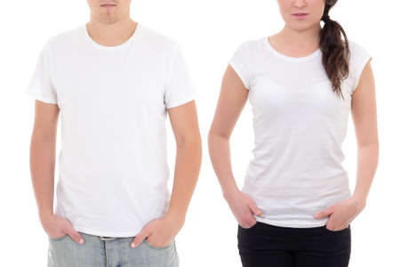 fashionable couple: young man and woman in white t-shirts with copy space isolated on white background Stock Photo
