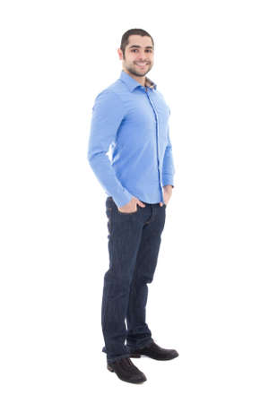 full length portrait of handsome arabic business man in blue shirt isolated on white background photo
