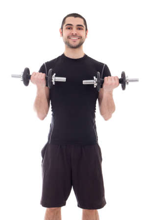 young handsome arabic man in sportswear doing exercises with dumbbells isolated on white background photo