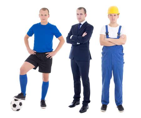 다른 직업 - 비즈니스 남자, 축구 선수와 작성기 흰색 배경에 고립에서 젊은 잘 생긴 남자