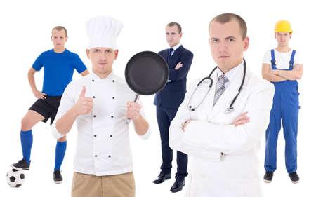 pessoas: jovem em diferentes profissões - homem de negócios, jogador de futebol, cozinheiro chefe, doutor e construtor isolado no fundo branco