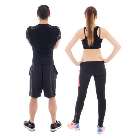 back view of young man and woman in sportswear isolated on white background