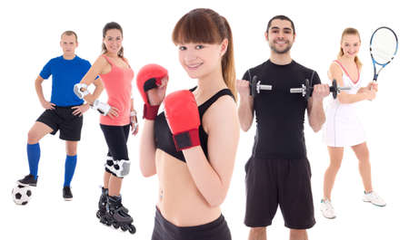 different sports concept - bodybuilder, female tennis player, woman in boxer gloves, roller and soccer player isolated on white background photo