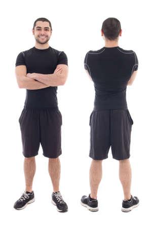 hombre arabe: vista frontal y posterior del apuesto deportista árabe barbudo aisladas sobre fondo blanco Foto de archivo