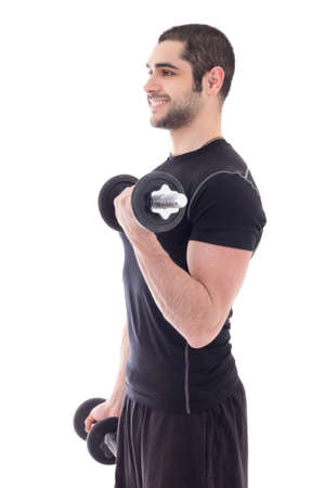 man in sportswear doing exercises with dumbbells isolated on white background photo